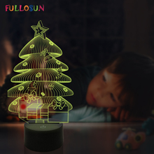 3D Nightlights LED Touch Light Christmas Tree USB Baby Bedside Lamp for Atmosphere Novelty Lighting