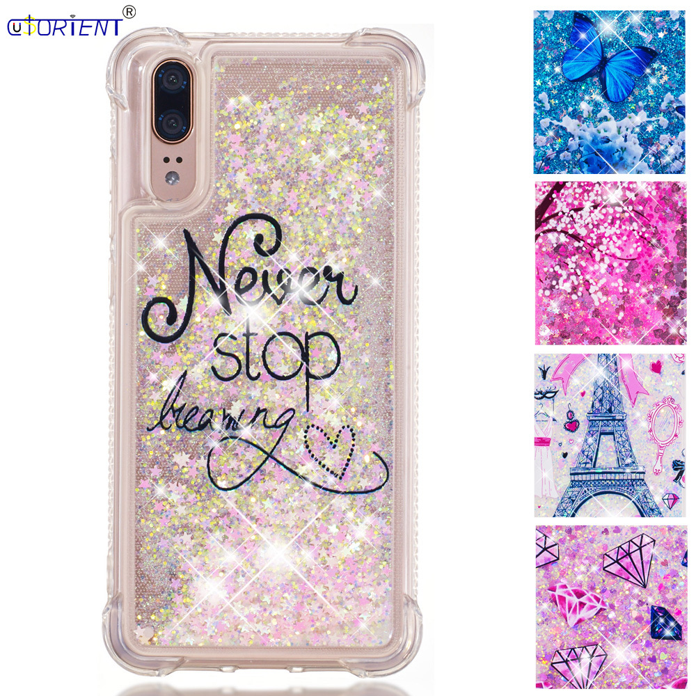 Funda For Huawei P20 Dynamic Liquid Quicksand Shockproof Case Emily-l29 Eml-l29 Eml-l09 Eml-l29c L22 Soft Silicone Bumper Cover Terrific Value Half-wrapped Case
