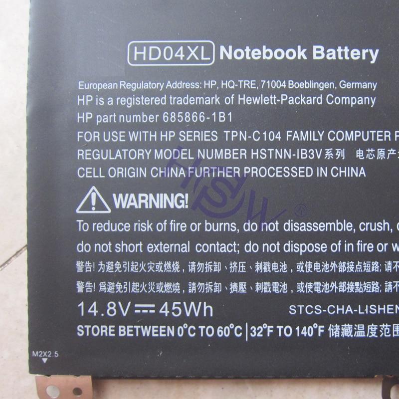 HSW New 14.8V 45Wh HD04XL Battery For Hp Envy Spectre Xt 13-2021tu Xt 13-2000eg Xt 13-2120tu 685866-1b1 685866-17