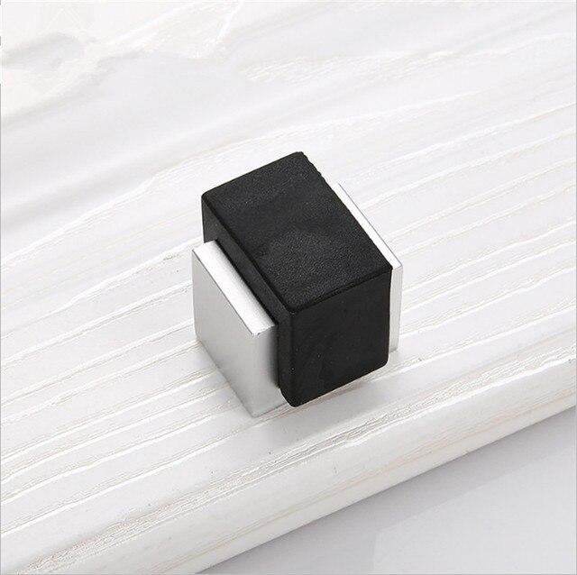 2pcs Rubber Door Stops Aluminium Alloy Stopper Wood Holder Toilet Glass Doorstop