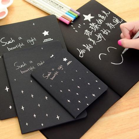 Cărți negre de carte cretă Jurnal de schi graffiti Notepad pentru - Blocnotesuri și registre - Fotografie 4