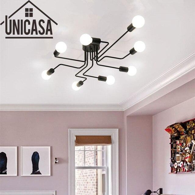 Aliexpress.com : Vintage Deckenleuchten Mehrere Stange Schmiedeeisen  Deckenleuchte Für Zu Hause Beleuchtung E27 Led lampe Wohnzimmer Art deco ...