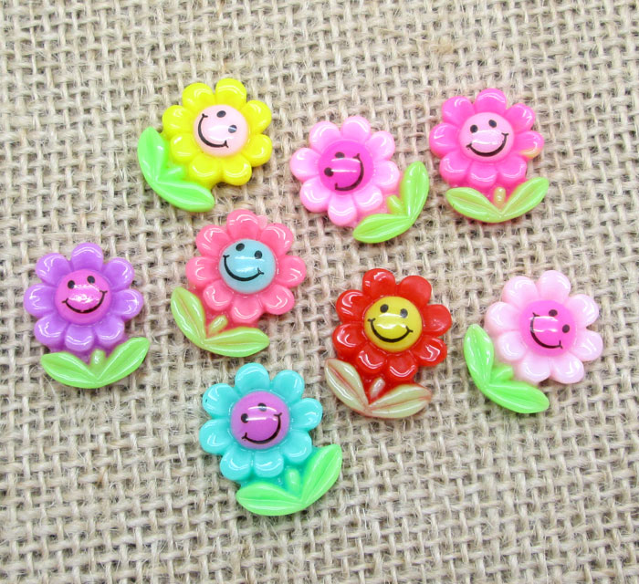 50Pcs Resin Mixed Sunflower Decoration Crafts Flatback Cabochon Scrapbooking Fit Hair Clips Embellishments Beads Diy