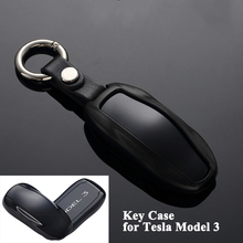1pc Aluminum Alloy Car Key Case Cover with key chain Protector Storage Shell Styling Accessories only for Tesla Model 3