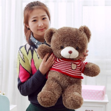 Fine 60cm Teddy Bear Plush Toy Red Stripes Sweater Bear Doll Girlfriend Gift W4134 Orders Are Welcome.