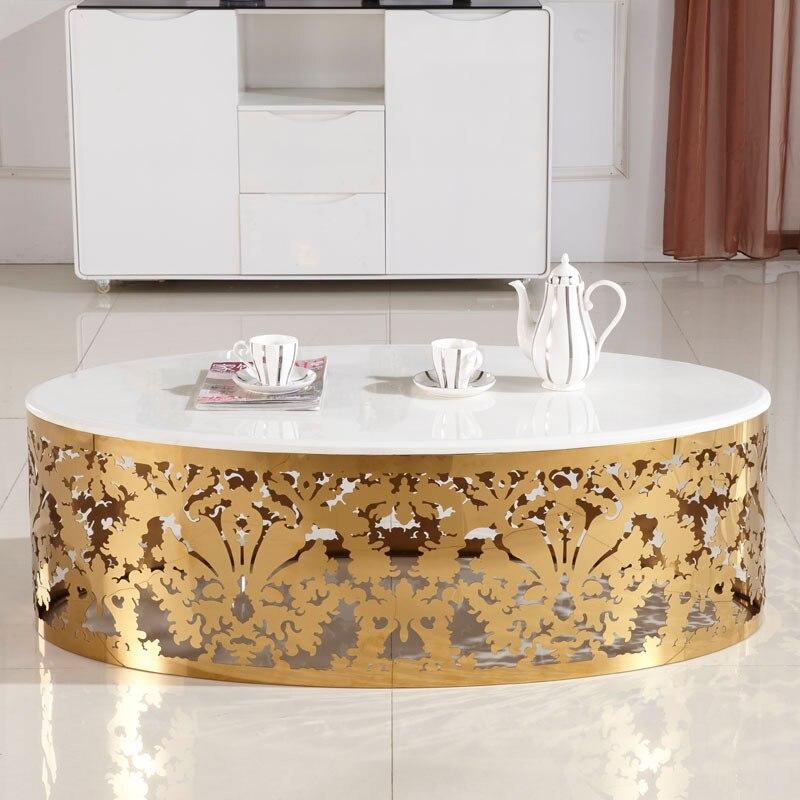 Ikea ovalada mesa de caf hueco tallado dorado mesa de - Mesas de cristal ikea ...