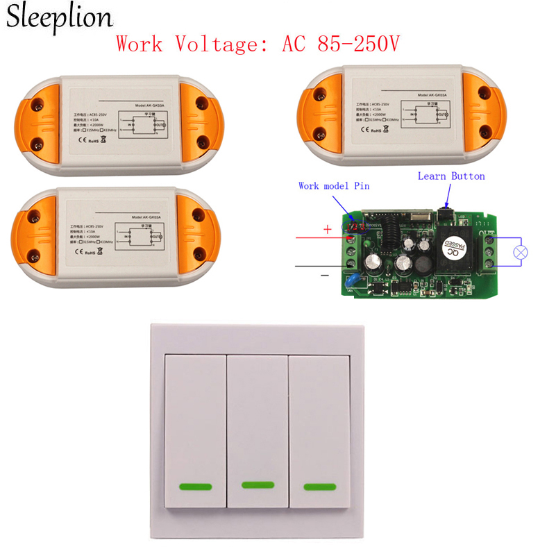 Sleeplion Switch Wireless Wall Remote Control Light Switch 3 Digital Receivers 110V 220V 85V-250V ON/OFF jd211a1n5 top rating 5 channel switch rf wireless remote control light switch five digital receivers 110v and 220v
