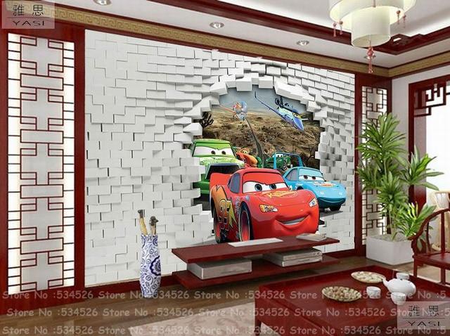 Coche de juguete 3d dormitorio papel pintado fresco papel - Papel para paredes infantiles ...