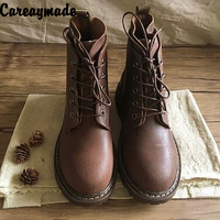 Careaymade 2018 New Autumn And Winter Female Short Boots Handmade Genuine Leather Flats Martin Boots With