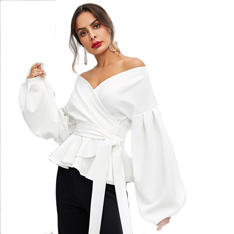 SHEIN White Office Lady Elegant Lantern Sleeve Surplice Peplum Off the Shoulder Solid Blouse Autumn Sexy Women Tops And Blouses 31