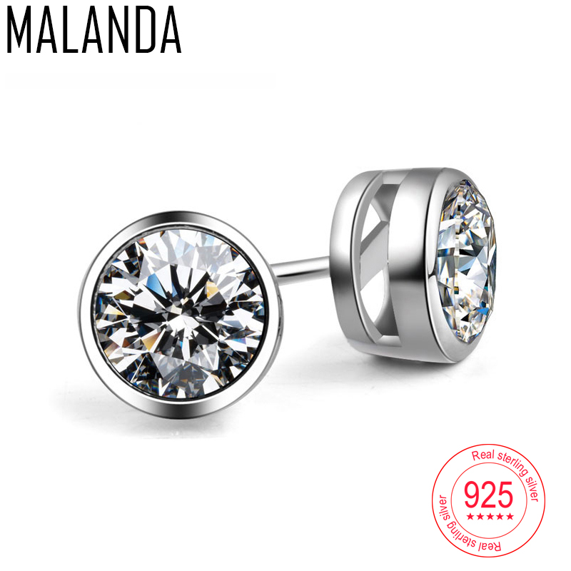 MALANDA Brand Fashion Sterling Silver Round Stud Earrings For Woman Man White Circular Crystal Zircon Channel