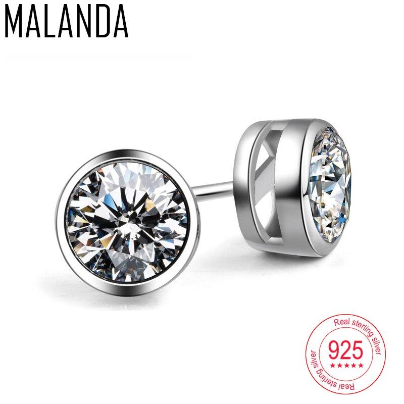 MALANDA Brand Fashion Sterling Silver Round Stud Earrings For Woman Man White Circular Crystal Zircon Channel Earrings Jewelry