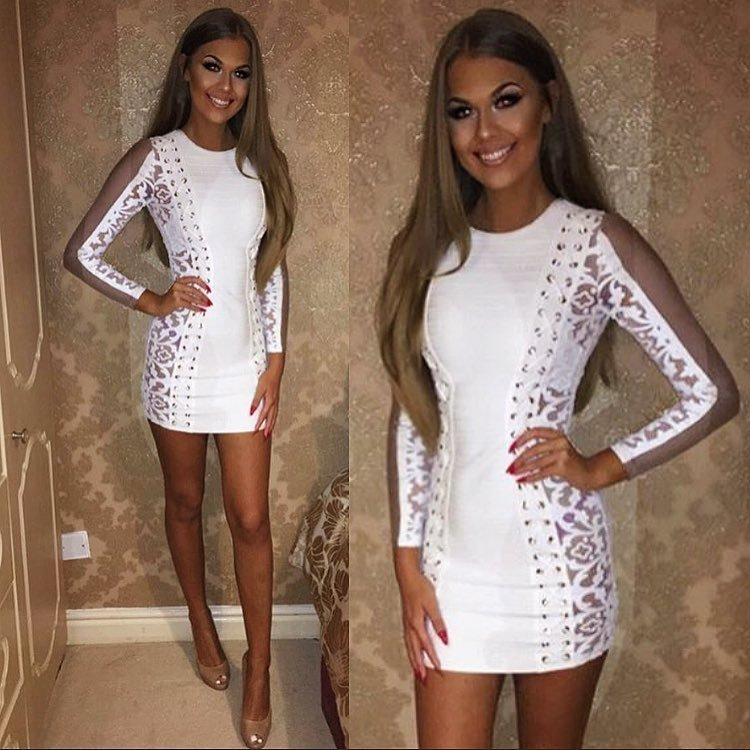 2017 nouvelle mode femmes robe maille à manches longues Mini O cou blanc Bandage robe Club robe