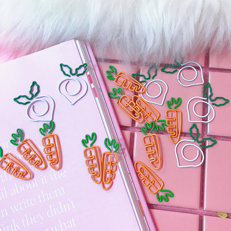 5 Pcs/lot Beautiful Pink Carrot White Radish Bookmark Planner Paper Clip Material Escolar Bookmarks For Book Stationery