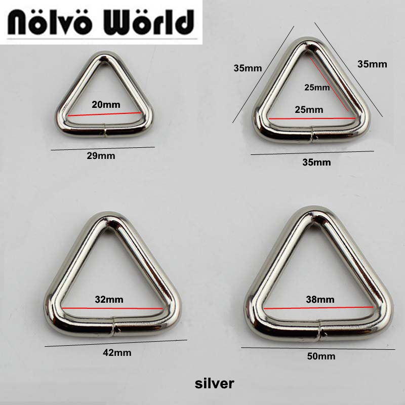 50pcs 4 Colors 20/25/32/38mm Metal Open Triangle Ring For Bags Parts,alloy Hardware Round Edge 25mm D Rings,free Drop Shipping