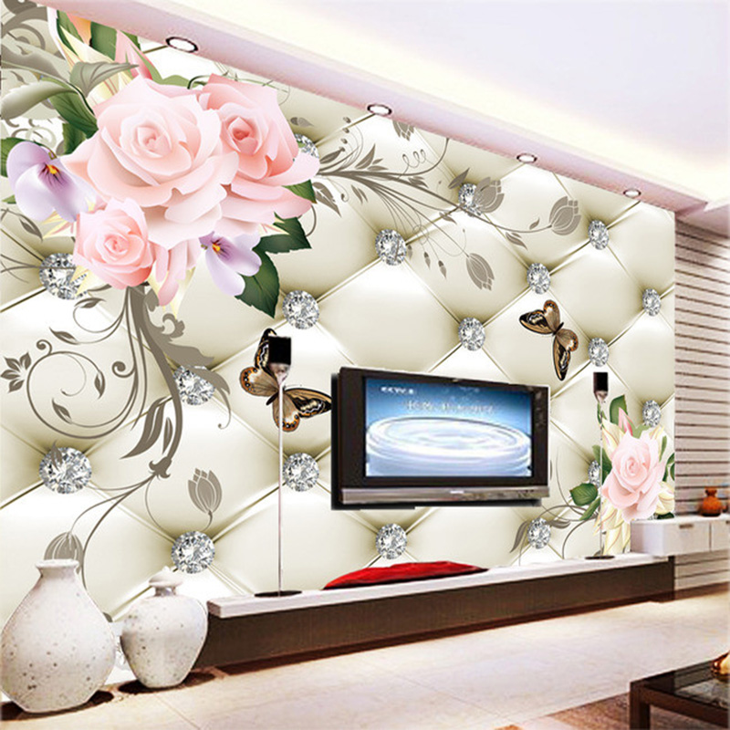 Modern Home Decor Wall Mural Custom Any Size Large Wallpaper For Living Room Soft European Flowers Butterfly Artistic Mural