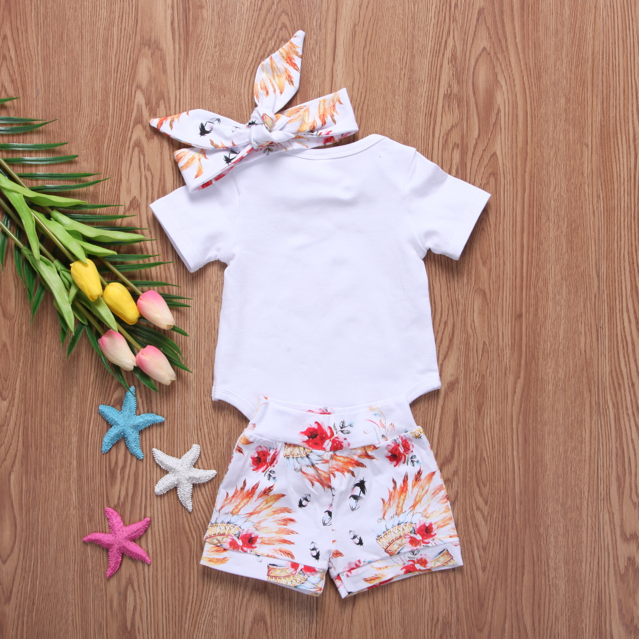 94a95933adb3d Newborn Baby Boy Girls Gypsy Feather Outfits Clothes Tops + Shorts +Headband  3pcs Baby Clothing Set -in Clothing Sets from Mother & Kids on  Aliexpress.com ...