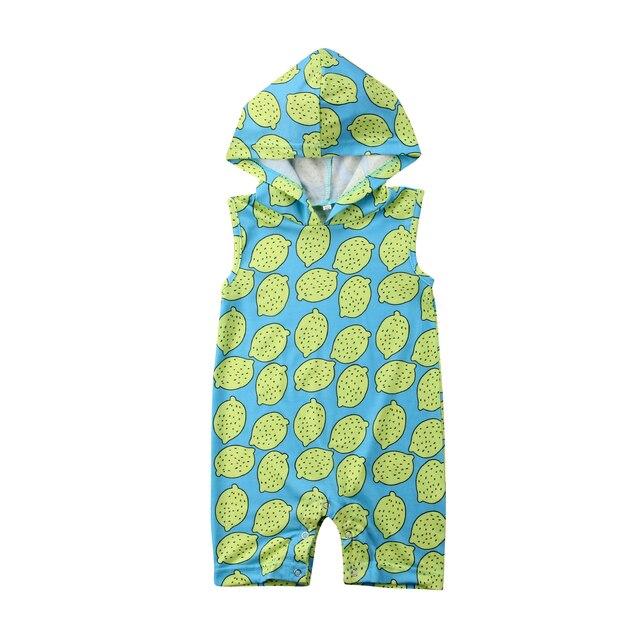 1b91267e0 Kids Newborn Baby Girl Lemon sleeveless Hooded Romper Jumpsuit ...