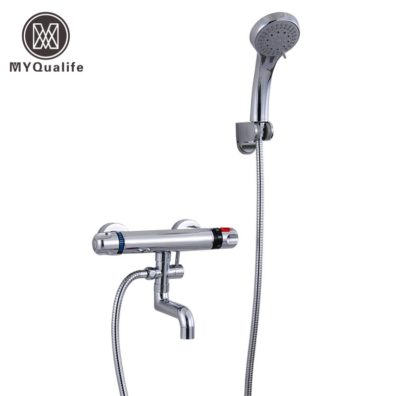 Polished Chrome Dual Handles Thermostatic Shower mixer Valve Bath Shower Faucet Handheld Shower Hot and Cold Water Taps chrome finish dual handles thermostatic valve mixer tap wall mounted shower tap