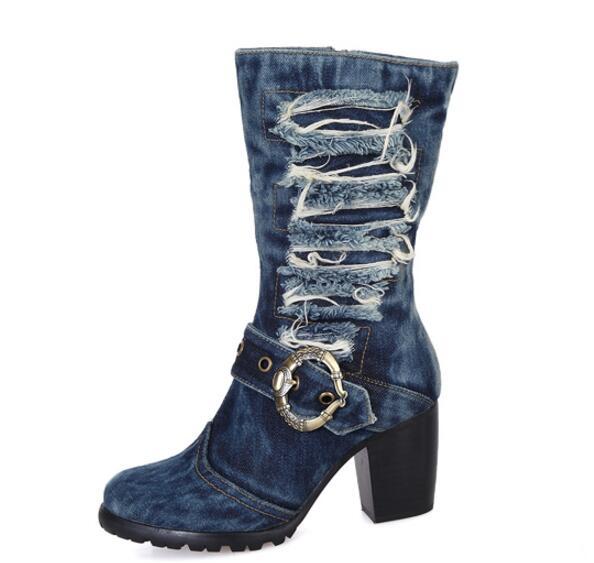 e6f1bfb63dd Blue Denim Mid-Calf Chunky Heels Pumps Cowboy Women s Boot Round Toe Shoes  High Heels Jean Martin Boots Free Shipping