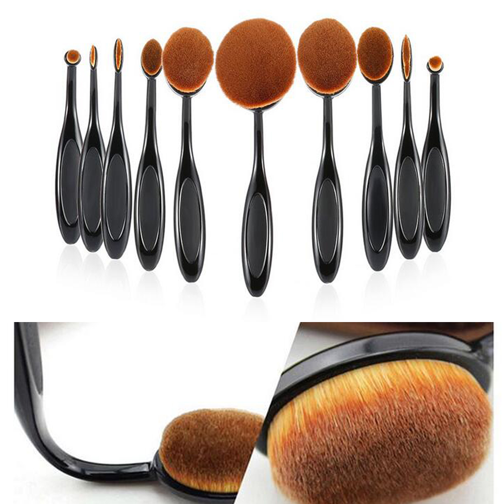 Free Shipping 10Pcs Makeup Brushes Set Extremely Soft Oval Toothbrush Black Makeup Brush Foundation Contour Powder Cosmetic Tool