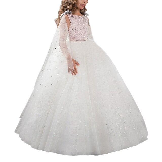 Perlen Rosa Weiße Ballkleid Festzug Kleider Für Kleine Mädchen Glitz ...