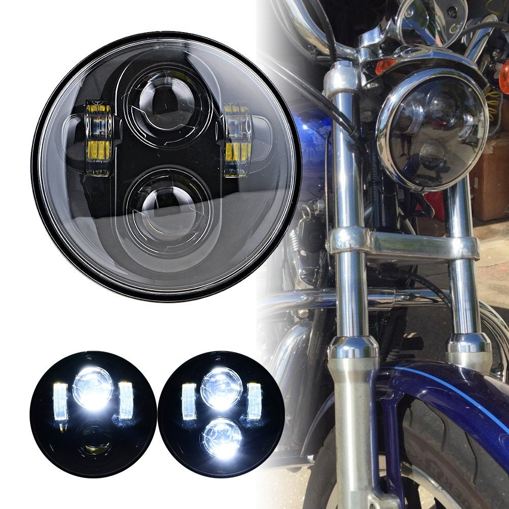 1 Piece Round 5.75 Black LED Motorcycle Headlight 6000K Hi/Low Beam LED Driving Lamp for harley Davidson