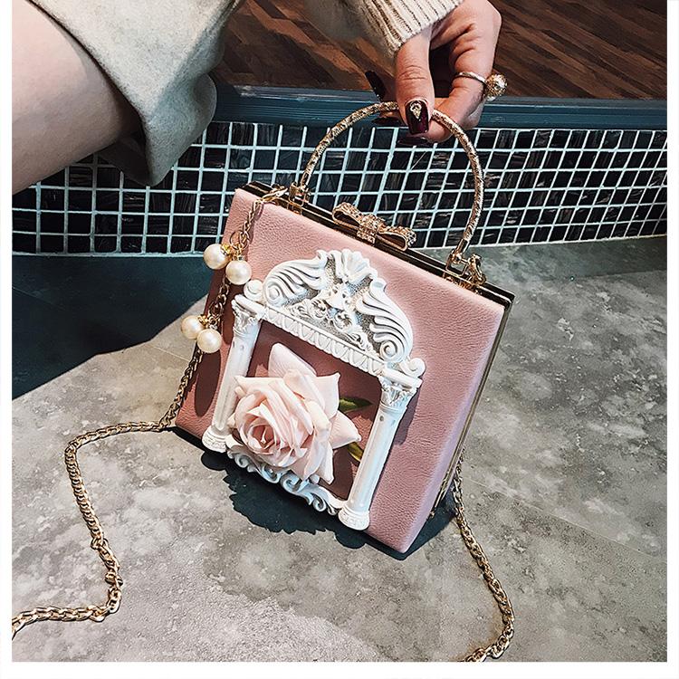 2018 NEW Rose 3D Palace Sculpture Frame Bag Luxury Handbags Women Party Bags Designer Lady Cute Shoulder Messenger Bag Sac Tote 30