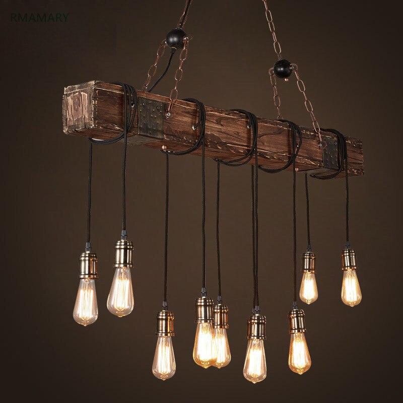 Lampes suspendues en bois industrielles rétro américaines restaurant bar table café en bois massif art éclairage pendentif LED lumière