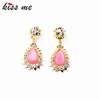 KISS ME ed00375 New Styles 2017 Fashion Jewelry Resin Pink Water Drop Fashion Earrings Christmas Gifts image