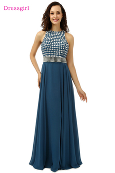Hot Royal Blue Evening Dresses 2019 A-line High Collar Floor Length Chiffon Beaded Long Evening Gown Prom Dress Real Photo