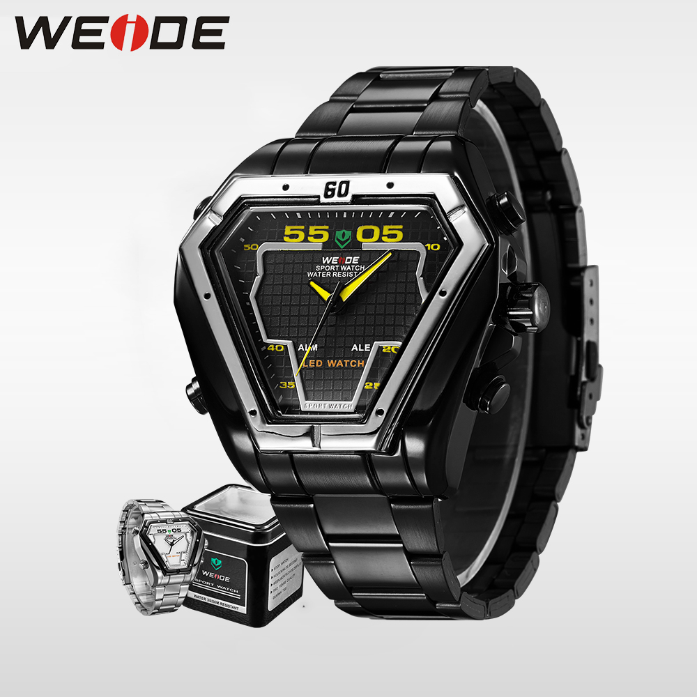 WEIDE LED Sport Watch Analog Digital Display Waterproof Stainless Steel Quartz Movement Wristwatches Gifts Men fashion & casual weide irregular analog led digital watch men quartz dual movement stainless steel bracelet mens waterproof military watches