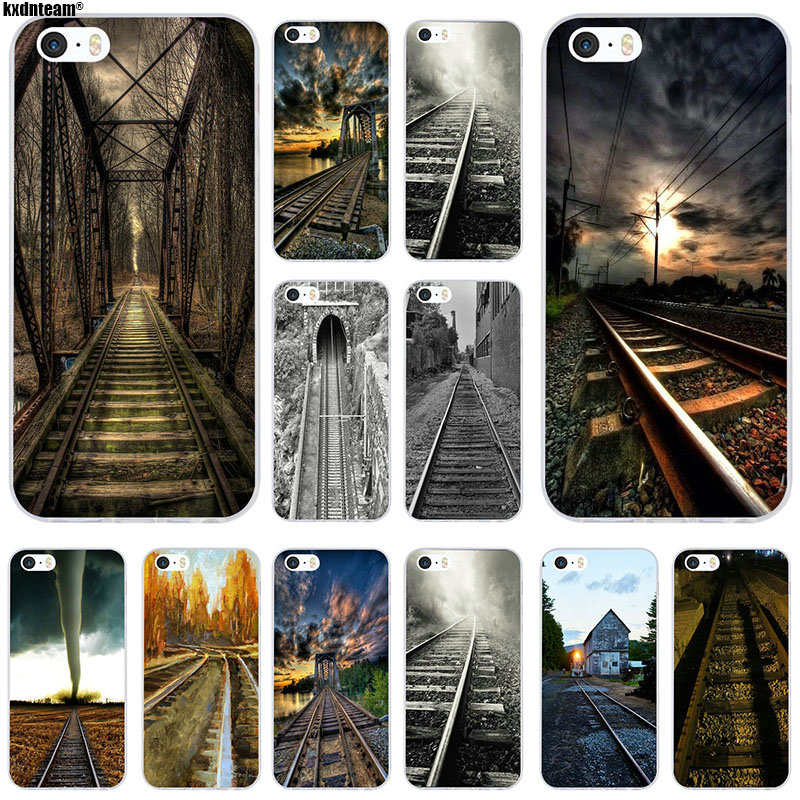 Soft Silicone TPU Transparent Moblle Phone Cases Capa Cover Dark Clouds Railway for iPhone 6 6S 7 8 Plus X 4 4S 5 5S 5C SE Bags