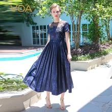 VOA 2017 Summer Navy Blue Short Sleeve High Waist Vintage Silk Embroidery Pleated Dress Plus Size Women Sexy Maxi ALX02801