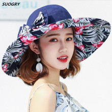 2017 Fashion Women Hat Summer Large Brim Beach Sun Hats For Girl Protection Printing Caps With Big Head Lady