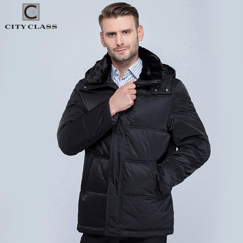 Chaqueta de invierno 2019 de clase de ciudad para hombres nuevos abrigos con capucha removibles con cuello redondo 6581-in Parkas from Ropa de hombre    1