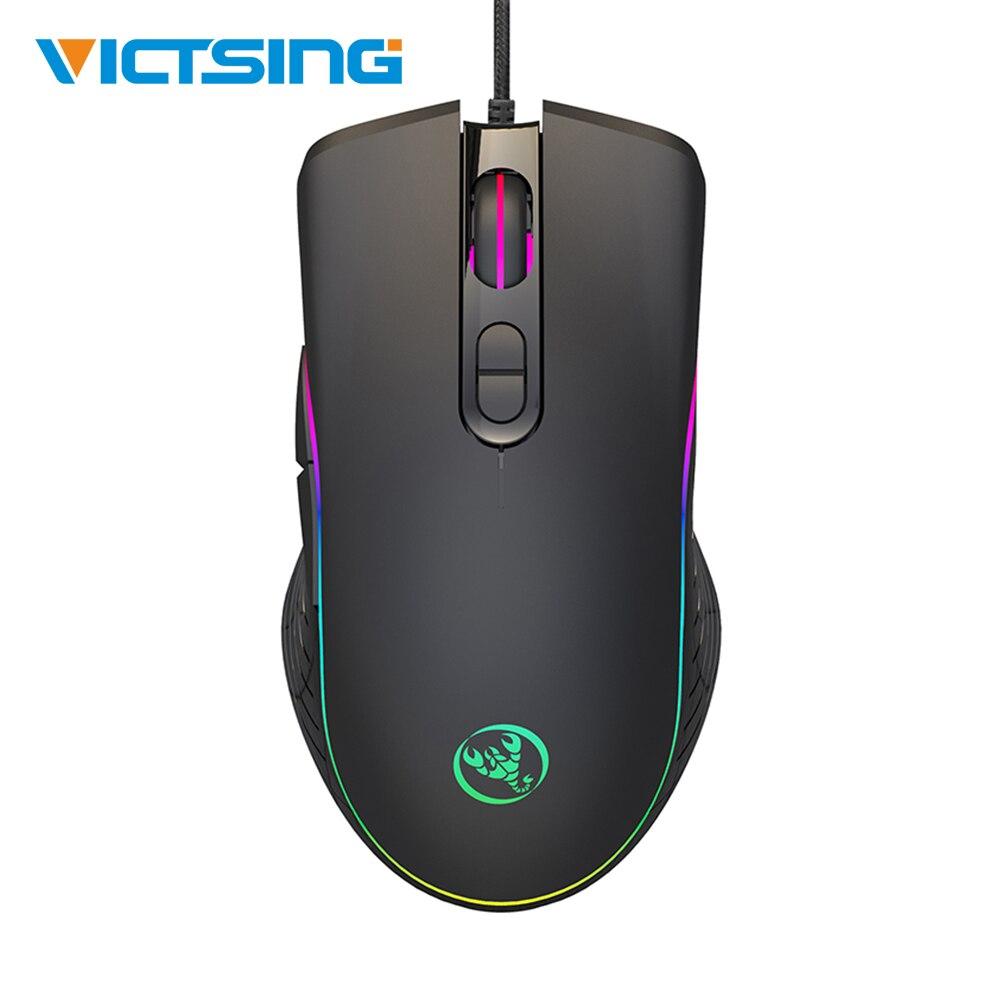 VicTsing XR261 7 Botão Programável RGB LED Light Retroiluminado Gaming Mouse Wired Mouse Ergonômico Camundongos DPI Ajustável Para PC Gamer