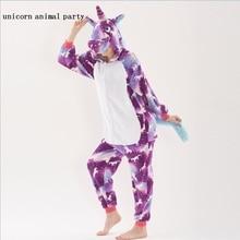 Winter Kigurumi Onesie Stitch color Unicorn Pikachu Anime Costumes Cosplay Cartoon Animal Sleepwear Warm Adult Men women Hooded