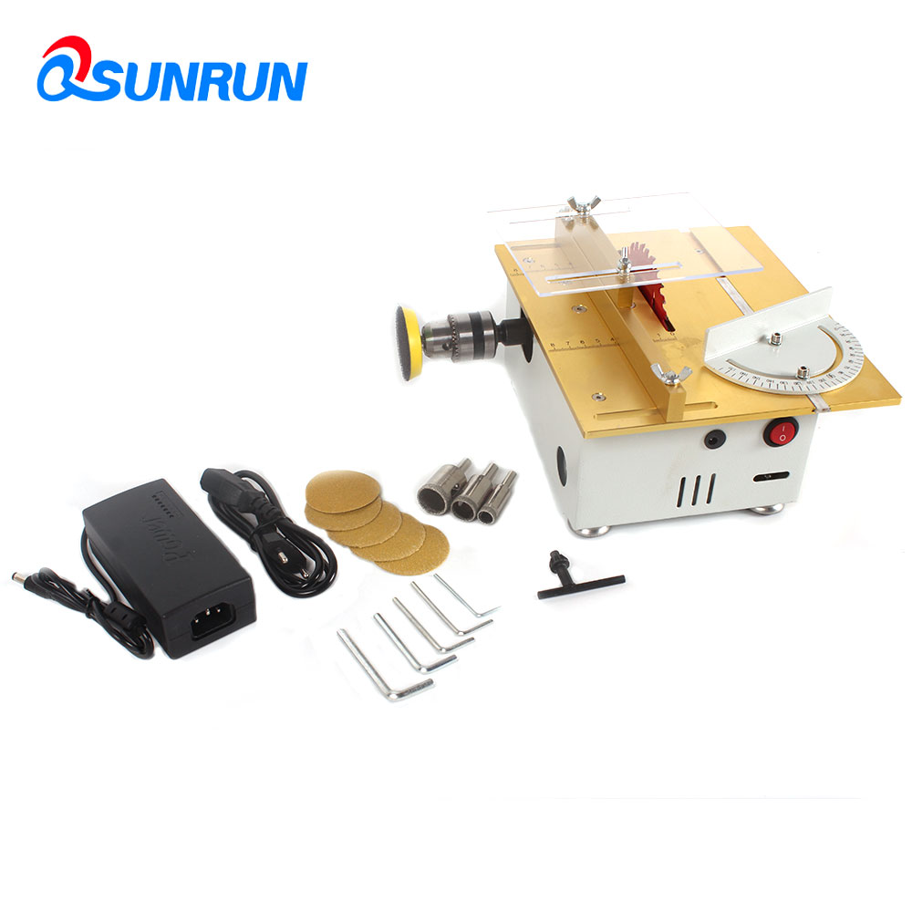 SUNRUN Multifunction Mini Portable Table Saw Set Handmade Woodworking Bench Lathe Electric Polisher Grinder Cutting Saw