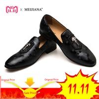 MEIJIANA 2018 Spring Autumn Genuine Leather Men Loafers Fashion Men Shoes Black Banquet Shoes