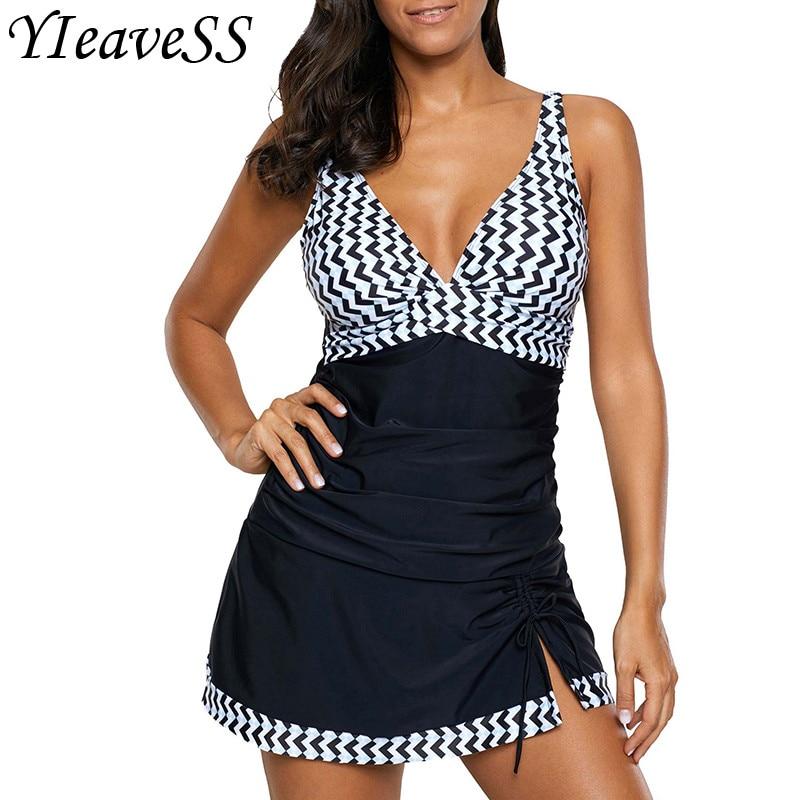 2019 New Plus Size 5XL Swimwear Women Bathing Suits Tankini Set Two Piece Swimsuit Print High Waist Bikinis Swimming Suits