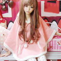 Autumn Japanese Batwing Sleeve Pullovers With Hood Soft Flannel Girls Ball Doll Cloak Outerwear Winter Warm