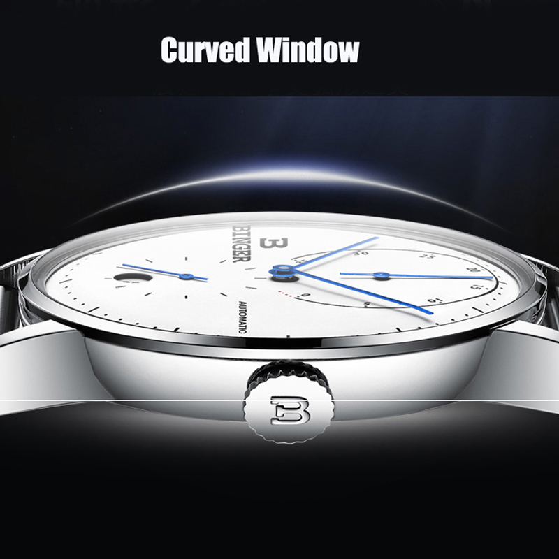BINGER Brand Waterproof Men Watches Automatic Mechanical Watch Sport Clock Leather Casual Business Wristwatch Relojes 2019