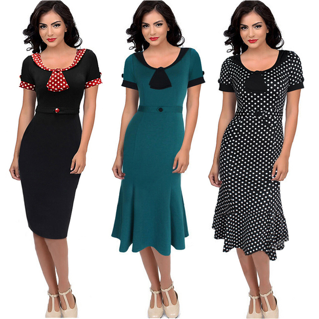 US $28.94 |Vestidos Women Dress Summer 2015 New Vintage Elegant Women Dress  Plus Size Formal Office Knee Length Business Dresses Work Wear-in Dresses  ...