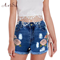 ArtSu 3D Вышивка Цветок Плюс Размер Женщин Шорты Новое Лето Sexy Джинсы Высокая Талия Короткая Ночной Клуб Короткая Джинсовая Одежда ASSH50002