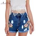 ArtSu 3D Bordados de Flores Plus Size Mulheres Shorts New Verão Boate Sexy Calça Jeans de Cintura Alta Curta Denim Roupas Curtas ASSH50002