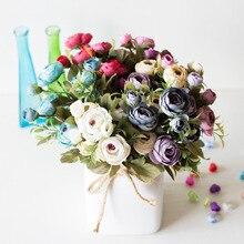 9 หัว/Bouquet MINI ปลอมชา Rose Peony ดอกไม้สำหรับงานแต่งงานหน้าแรก Decor ประดิษฐ์ Rose Penoy ดอกไม้ Bud สำหรับตกแต่งห้อง