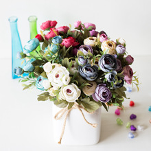 9 رئيس/باقة صغيرة وهمية الشاي الورد زهور الفاوانيا للمنزل الزفاف ديكور بوكيه ورد صناعي Penoy زهرة باقة برعم لغرفة ديكور