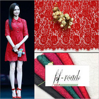 6 Colors In Stock Eyelash Corded Lace Cotton Material Black Off White Wine Red Red Dark