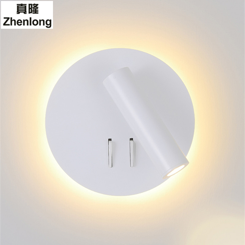 Creative Led Wall Light Bedside Bedroom Fashion 6W Decorative Light Hotel Wall with Switch Spotlight Reading